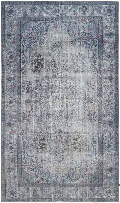 "Grey Hand Carved Over-Dyed Rug - 5' 6"" x 9' 4"" (66 in. x 112 in.)"
