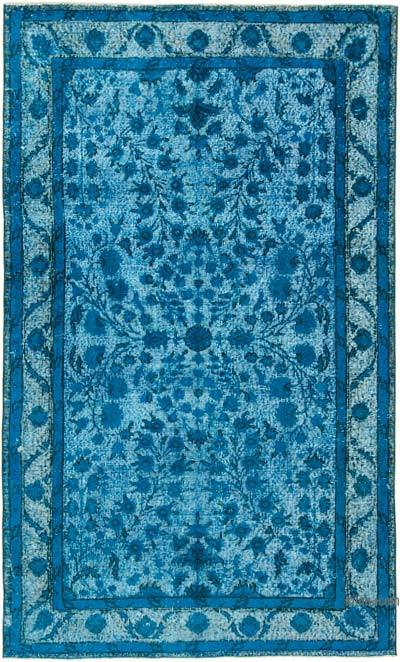 """Aqua Hand Carved Over-Dyed Rug - 4' 11"""" x 8' 1"""" (59 in. x 97 in.)"""