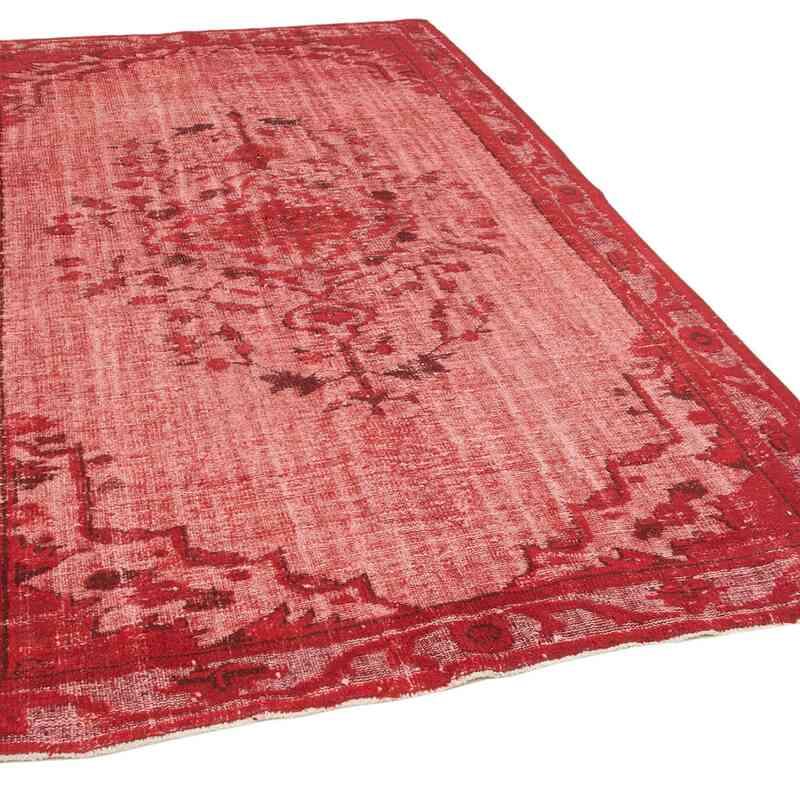 Kırmızı El Oyması Boyalı Halı - 189 cm x 287 cm - K0051905