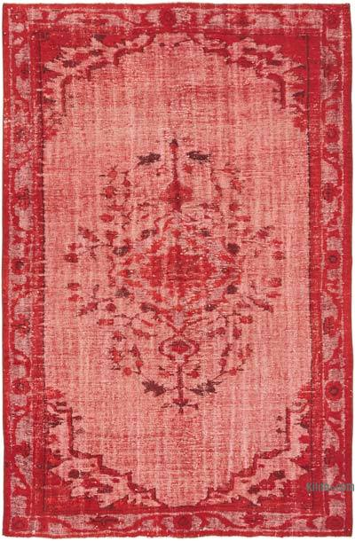 """Red Hand Carved Over-Dyed Rug - 6' 2"""" x 9' 5"""" (74 in. x 113 in.)"""