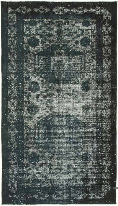 """Black Hand Carved Over-Dyed Rug - 5' 2"""" x 9' 1"""" (62 in. x 109 in.)"""