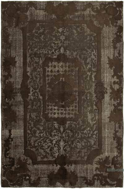 "Brown Hand Carved Over-Dyed Rug - 6' 9"" x 10' 3"" (81 in. x 123 in.)"