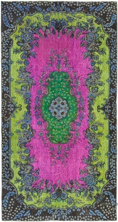 """Hand Carved Over-Dyed Rug - 3' 8"""" x 7' 1"""" (44 in. x 85 in.)"""
