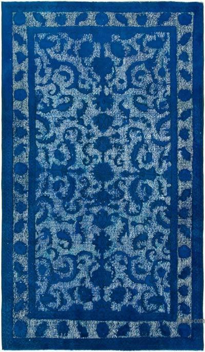 Lacivert El Oyması Boyalı Halı - 141 cm x 244 cm