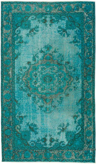"""Aqua Hand Carved Over-Dyed Rug - 3' 10"""" x 6' 7"""" (46 in. x 79 in.)"""