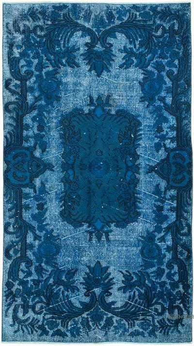 Mavi-Yeşil El Oyması Boyalı Halı - 114 cm x 204 cm