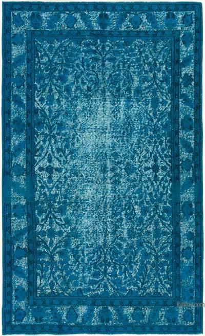 Mavi-Yeşil El Oyması Boyalı Halı - 140 cm x 230 cm