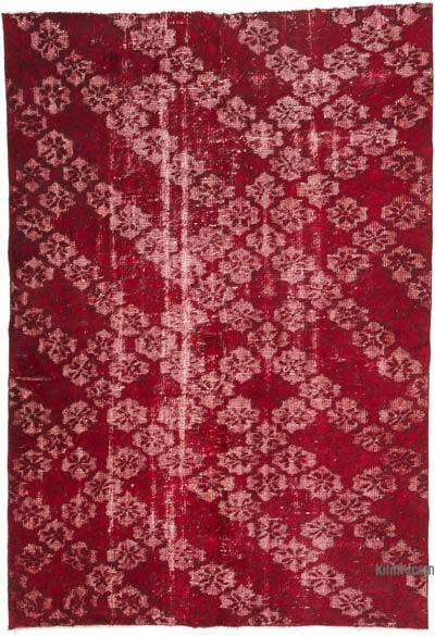 """Red Hand Carved Over-Dyed Rug - 5'  x 7' 3"""" (60 in. x 87 in.)"""