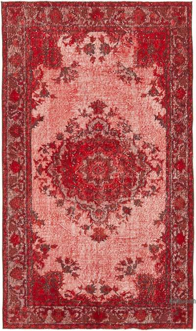 """Red Hand Carved Over-Dyed Rug - 4' 6"""" x 7' 10"""" (54 in. x 94 in.)"""