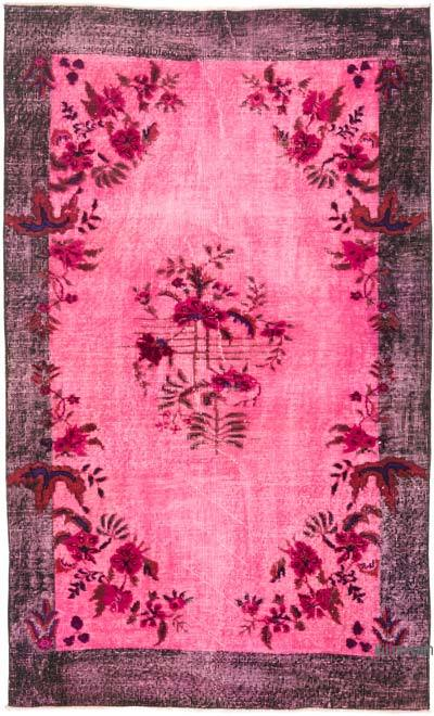"Pink Hand Carved Over-Dyed Rug - 3' 9"" x 6' 2"" (45 in. x 74 in.)"