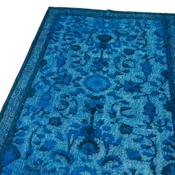 Aqua Hand Carved Over-Dyed Rug - 3' 7# x 6' 9# (43 in. x 81 in.) - K0051936