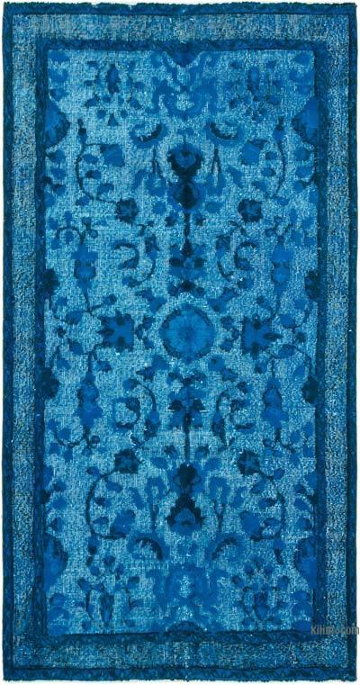 Mavi-Yeşil El Oyması Boyalı Halı - 109 cm x 205 cm
