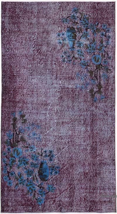 """Purple Hand Carved Over-Dyed Rug - 3' 9"""" x 6' 9"""" (45 in. x 81 in.)"""