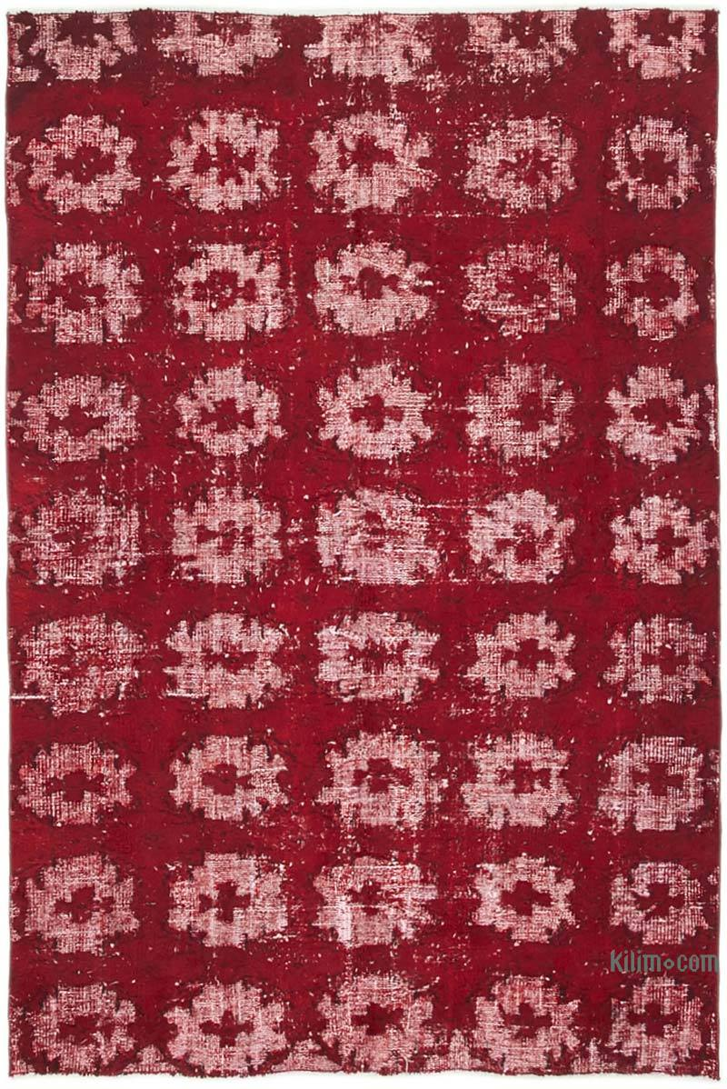 """Red Hand Carved Over-Dyed Rug - 5'  x 7' 4"""" (60 in. x 88 in.) - K0051940"""