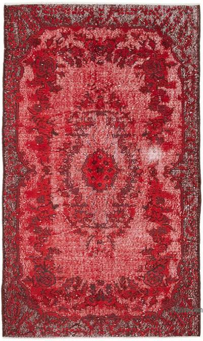 "Red Hand Carved Over-Dyed Rug - 4' 2"" x 7' 1"" (50 in. x 85 in.)"