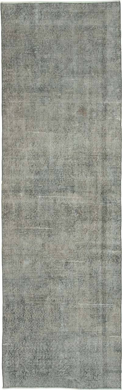 """Grey Over-dyed Turkish Vintage Runner Rug - 3' 1"""" x 10' 1"""" (37 in. x 121 in.)"""