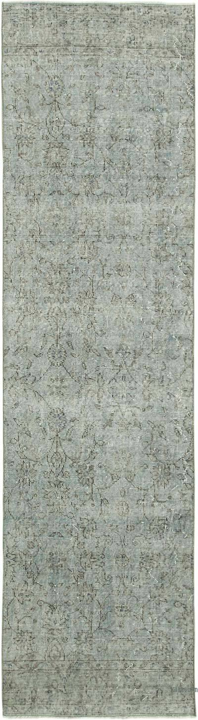 """Blue Over-dyed Turkish Vintage Runner Rug - 2' 8"""" x 10'  (32 in. x 120 in.)"""