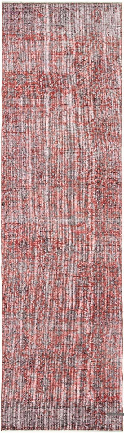 """Red Over-dyed Turkish Vintage Runner Rug - 2' 8"""" x 9' 4"""" (32 in. x 112 in.)"""