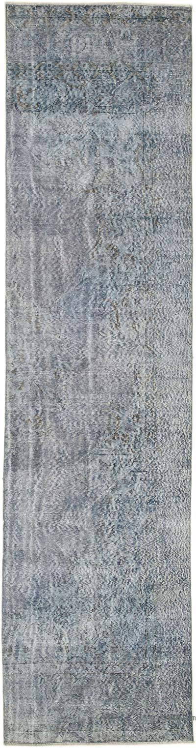"Blue Over-dyed Turkish Vintage Runner Rug - 2' 9"" x 11'  (33 in. x 132 in.)"