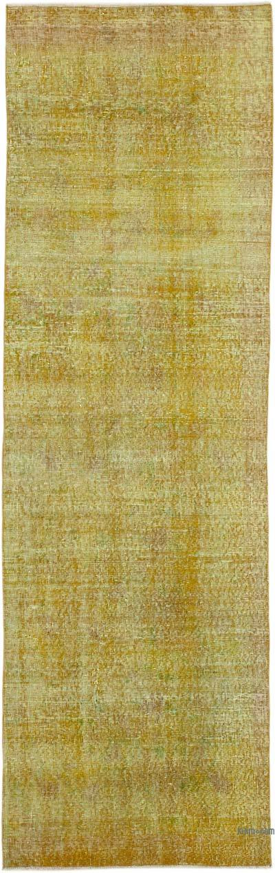 """Yellow Over-dyed Turkish Vintage Runner Rug - 2' 11"""" x 9' 7"""" (35 in. x 115 in.)"""