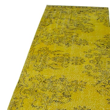 """Yellow Over-dyed Turkish Vintage Runner Rug - 2' 9"""" x 11' 1"""" (33 in. x 133 in.) - K0052131"""
