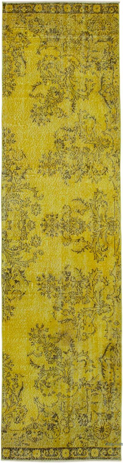 "Yellow Over-dyed Turkish Vintage Runner Rug - 2' 9"" x 11' 1"" (33 in. x 133 in.)"