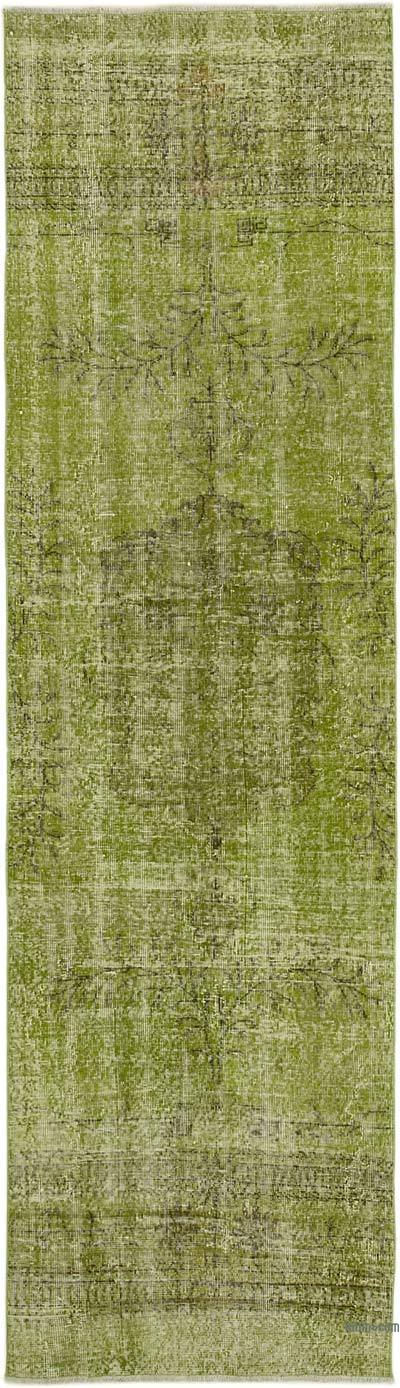 """Green Over-dyed Turkish Vintage Runner Rug - 3'  x 10' 5"""" (36 in. x 125 in.)"""