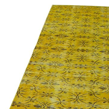 """Yellow Over-dyed Turkish Vintage Runner Rug - 2' 8"""" x 9' 4"""" (32 in. x 112 in.) - K0052139"""