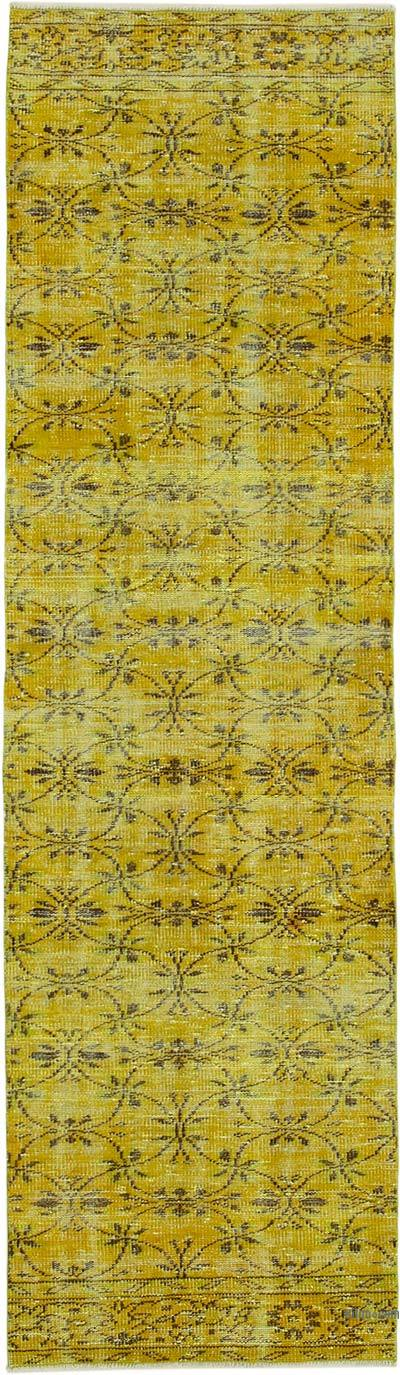 "Yellow Over-dyed Turkish Vintage Runner Rug - 2' 8"" x 9' 4"" (32 in. x 112 in.)"