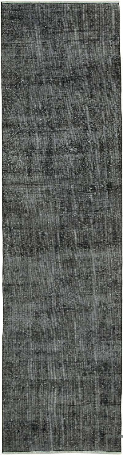 "Black Over-dyed Turkish Vintage Runner Rug - 2' 8"" x 9' 11"" (32 in. x 119 in.)"