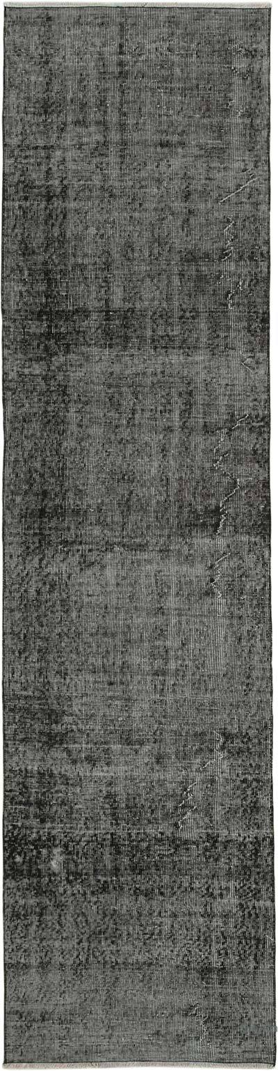 """Black Over-dyed Turkish Vintage Runner Rug - 2' 8"""" x 10' 5"""" (32 in. x 125 in.)"""