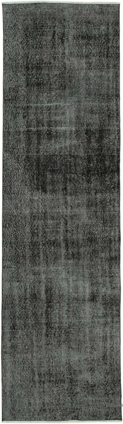 """Black Over-dyed Turkish Vintage Runner Rug - 2' 11"""" x 10' 4"""" (35 in. x 124 in.)"""