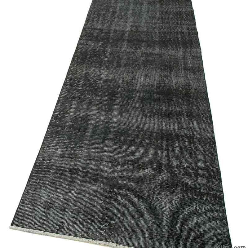 "Black Over-dyed Turkish Vintage Runner Rug - 2' 11"" x 10' 8"" (35 in. x 128 in.) - K0052152"