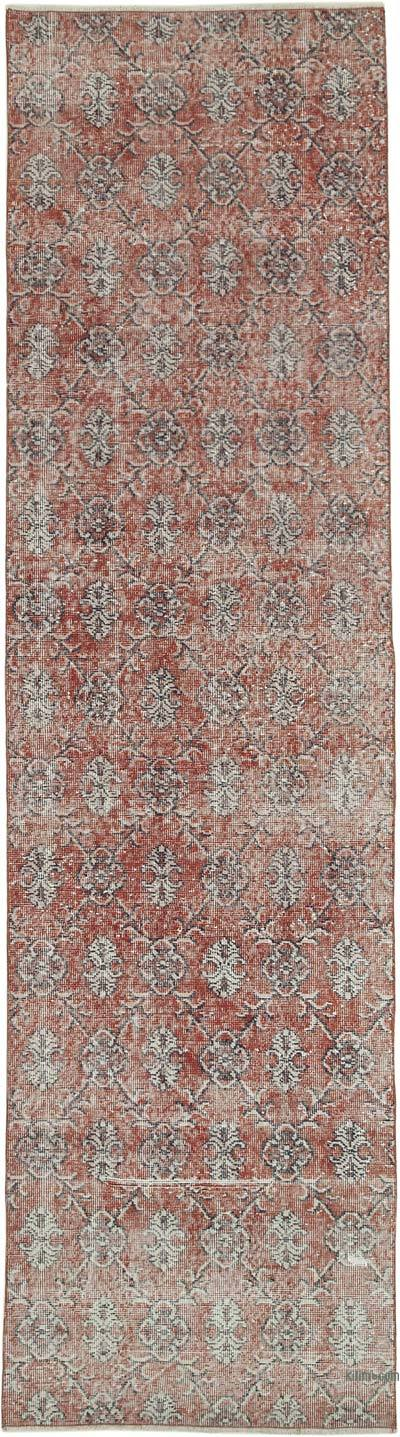 Red Over-dyed Turkish Vintage Runner Rug - 3'  x 11'  (36 in. x 132 in.)