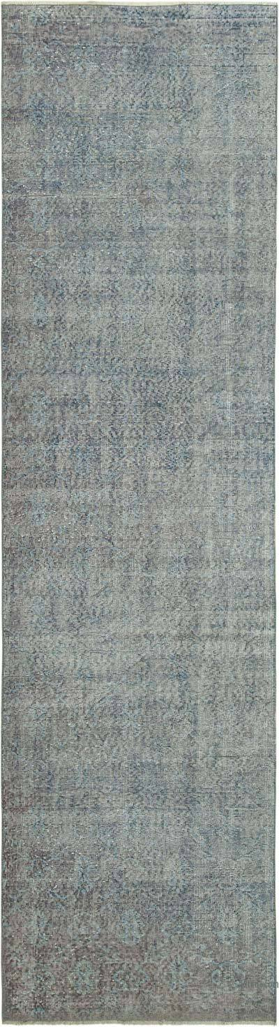 Blue Over-dyed Turkish Vintage Runner Rug - 3'  x 11'  (36 in. x 132 in.)