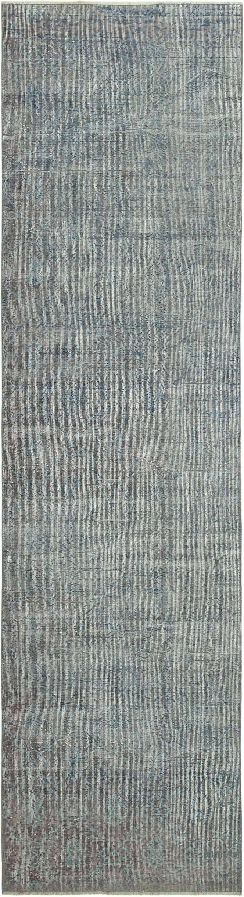 Blue Over-dyed Turkish Vintage Runner Rug - 3'  x 11'  (36 in. x 132 in.) - K0052164