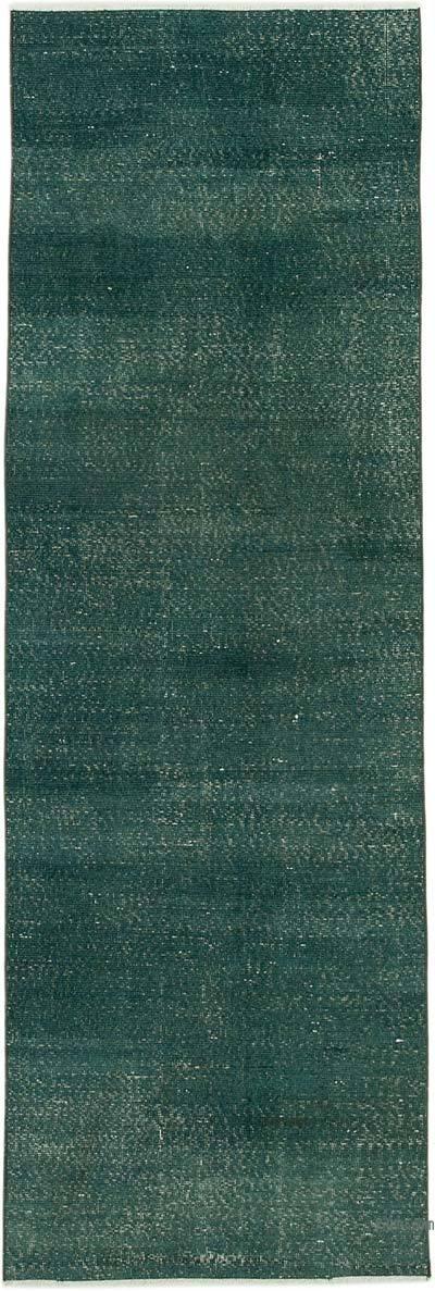 Yeşil Boyalı El Dokuma Vintage Halı Yolluk