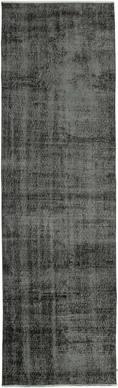 """Black Over-dyed Turkish Vintage Runner Rug - 3'  x 10' 1"""" (36 in. x 121 in.)"""