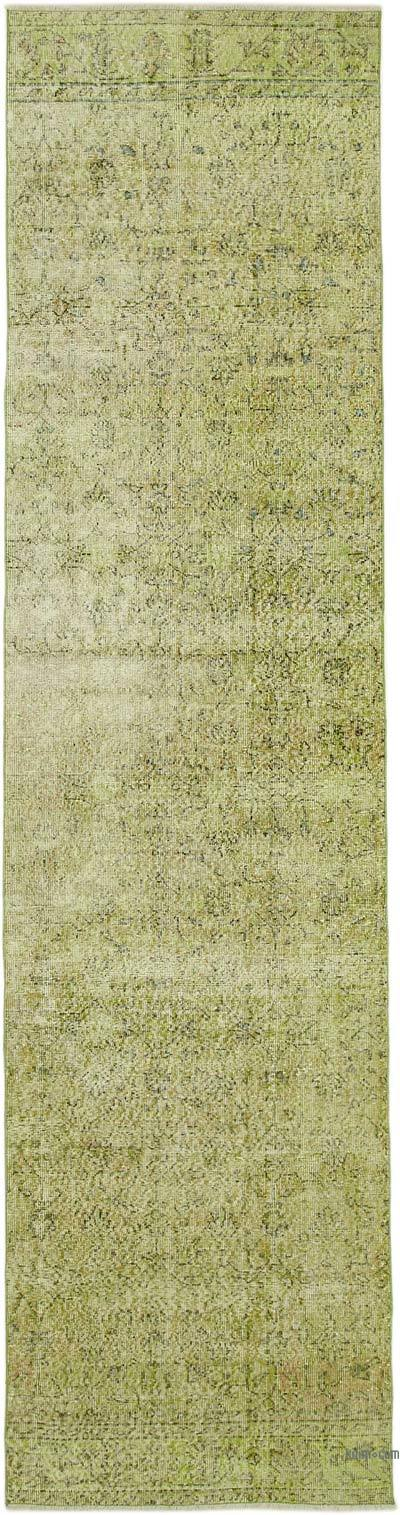 """Green Over-dyed Turkish Vintage Runner Rug - 3' 2"""" x 12' 5"""" (38 in. x 149 in.)"""