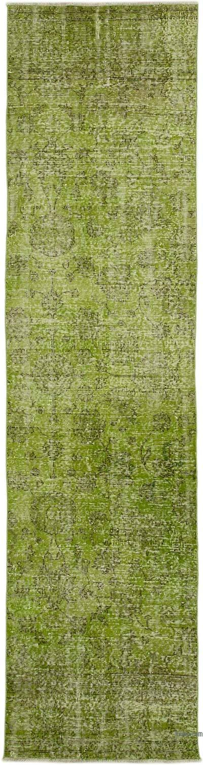 """Green Over-dyed Turkish Vintage Runner Rug - 2' 8"""" x 10' 6"""" (32 in. x 126 in.)"""