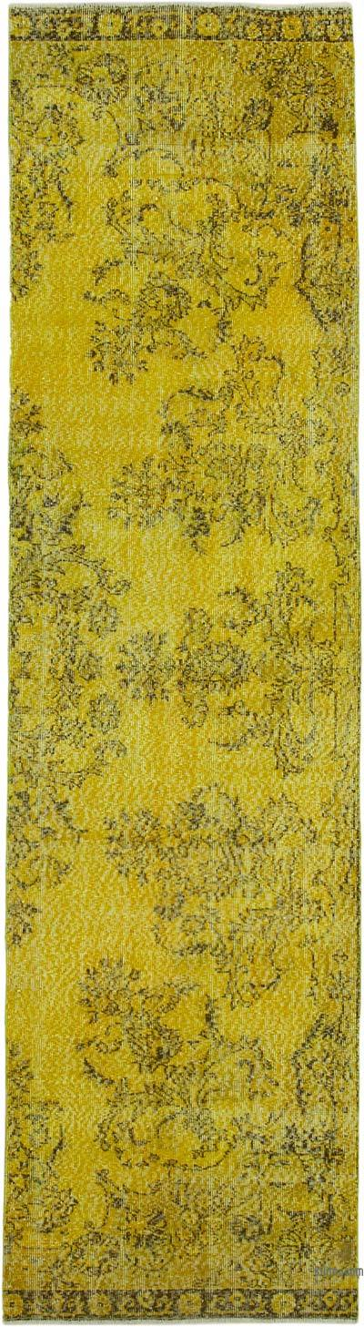 "Yellow Over-dyed Turkish Vintage Runner Rug - 2' 11"" x 10' 11"" (35 in. x 131 in.)"