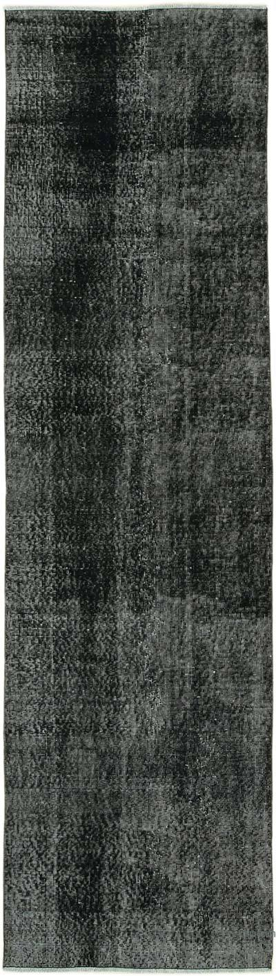 """Black Over-dyed Turkish Vintage Runner Rug - 2' 9"""" x 10'  (33 in. x 120 in.)"""