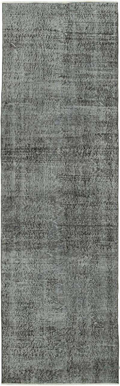 """Black Over-dyed Turkish Vintage Runner Rug - 3'  x 9' 9"""" (36 in. x 117 in.)"""