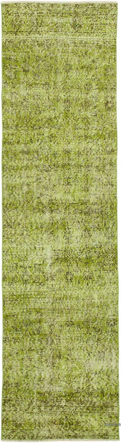 """Green Over-dyed Turkish Vintage Runner Rug - 2' 8"""" x 9' 11"""" (32 in. x 119 in.)"""