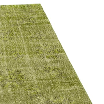 """Green Over-dyed Turkish Vintage Runner Rug - 3'  x 10' 5"""" (36 in. x 125 in.) - K0052188"""