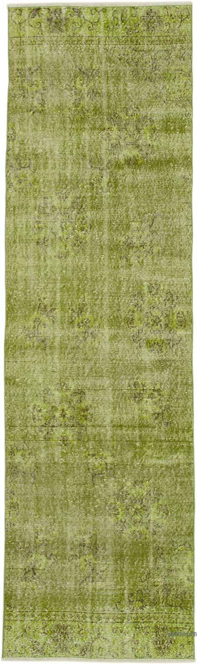 "Green Over-dyed Turkish Vintage Runner Rug - 3'  x 10' 5"" (36 in. x 125 in.)"