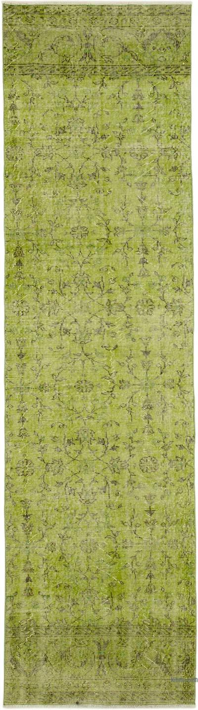"Green Over-dyed Turkish Vintage Runner Rug - 3'  x 11' 2"" (36 in. x 134 in.)"