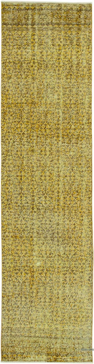 """Yellow Over-dyed Turkish Vintage Runner Rug - 2' 7"""" x 10' 4"""" (31 in. x 124 in.)"""