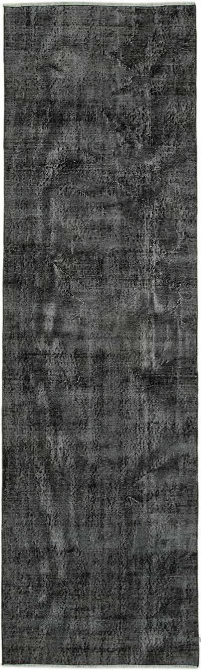 "Black Over-dyed Turkish Vintage Runner Rug - 2' 11"" x 10'  (35 in. x 120 in.)"