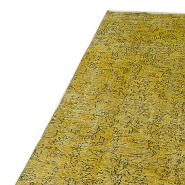 """Yellow Over-dyed Turkish Vintage Runner Rug - 2' 11"""" x 9' 11"""" (35 in. x 119 in.) - K0052196"""